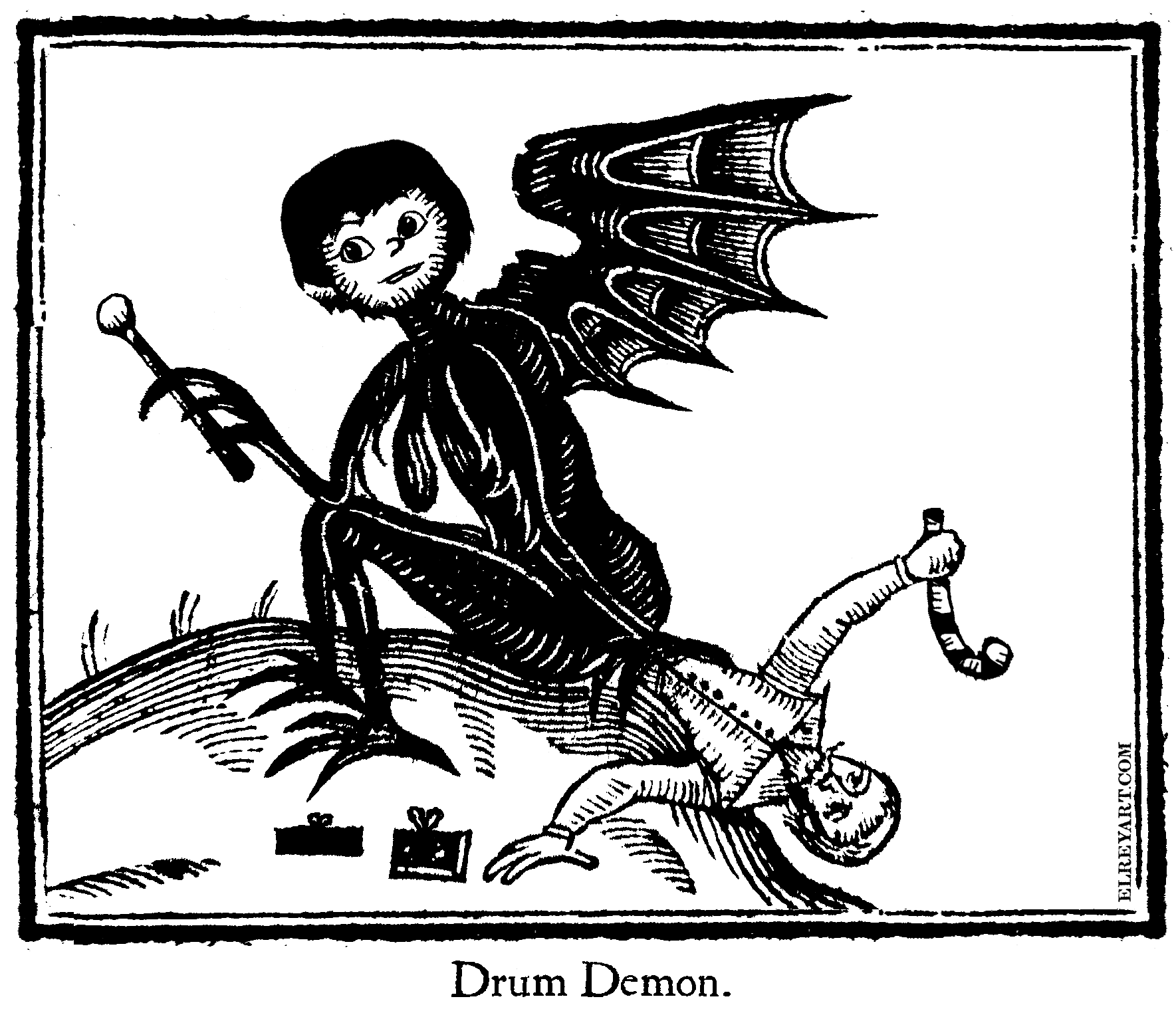 Little Drummer Boy Demon Woodcut – Little Drummer Boy Challenge