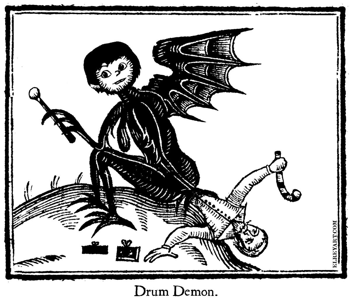Little Drummer Boy Demon Woodcut