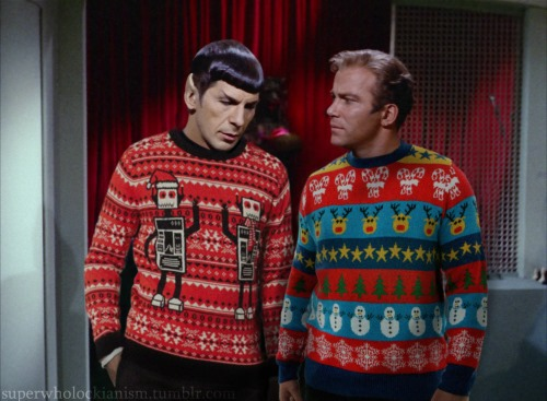 Spock and Kirk in holiday garb, courtesy Jon Jackson